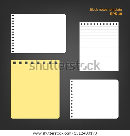 Vector illustration of 4 block notes. Set of different pages in white and yelllow colors on grey background. Empty blanks can be used as a mock up template and backgrounds for your own projects.
