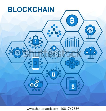 Vector illustration of blockchain concept with low poly background. Connected hexagonal shapes.