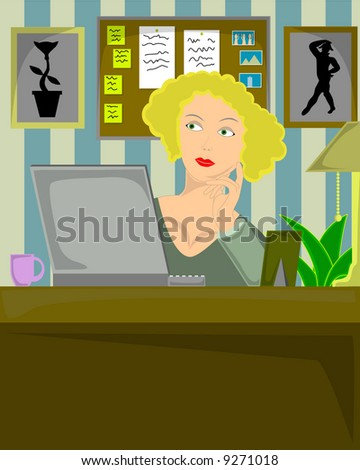 Vector illustration of blond female sitting in home office thoughtfully working on laptop.