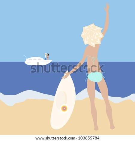 Vector illustration of blonde slim girl staying at the sea-side with big hat waving her hand to a people on yacht. No mesh and transparency used. Gradient used. Objects grouped and named in English.