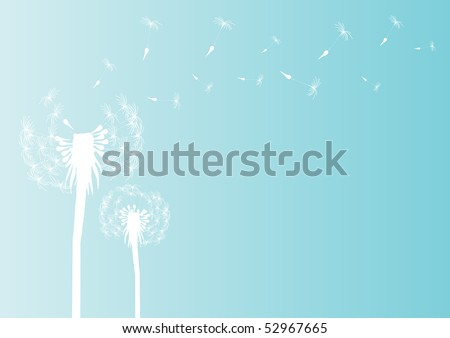 Vector illustration of blowing dandelion silhouette on blue background - stock vector