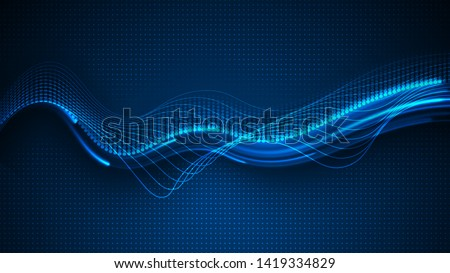 Vector illustration of blue abstract background with blurred magic neon light lines. High-speed abstraction. Shining blue fine lines. Energy dynamic waves. Dynamic vector wave background.