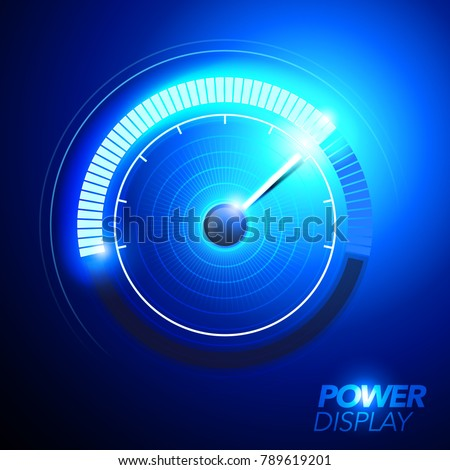 vector illustration of blue abstract car fuel power speedometer pushing to limit with cool engery glow effects.