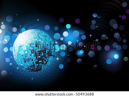 Vector illustration of  blue abstract party Background with glowing lights and disco ball