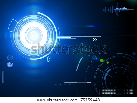 Vector illustration of blue abstract techno background