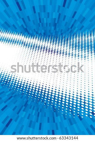 Vector illustration of blue abstract techno shining background made of dots rays. - stock vector