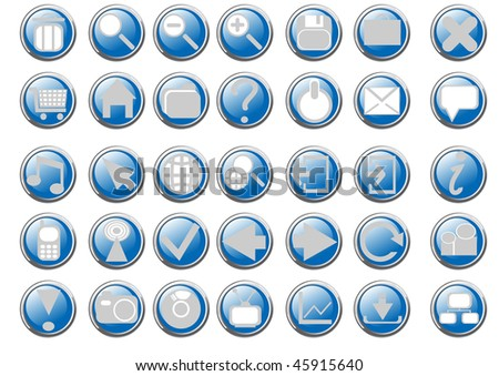 Vector illustration of blue button icons