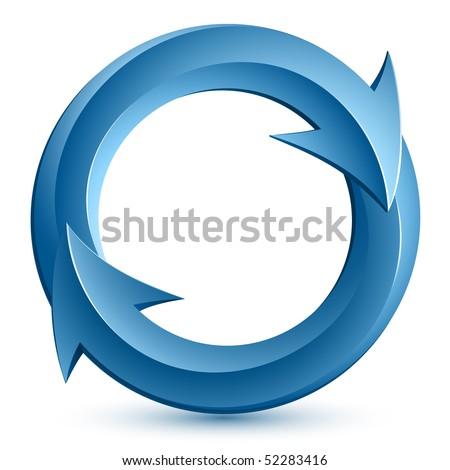 Vector illustration of blue circular arrows