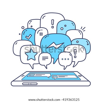 Vector illustration of blue color dialog speech bubbles with icons and phone on white background. Safety and fast mobile messenger concept. Thin line art flat design of communication technology theme