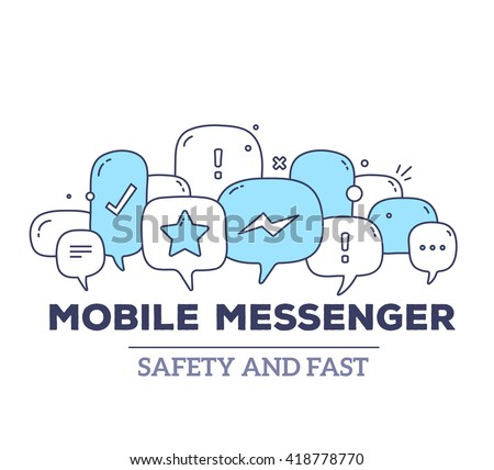 Vector illustration of blue color dialog speech bubbles with icons and text mobile messenger on white background. Safety and fast mobile messenger concept. Thin line art flat design of communication