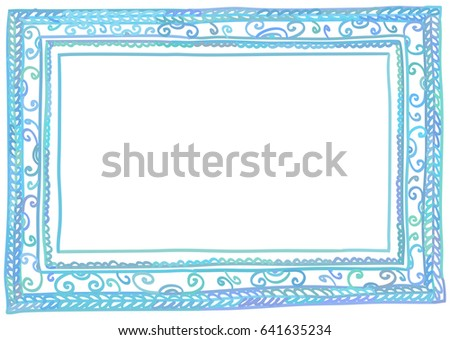 Vector illustration of blue doodle frame, isolated on white background. A6, A5, A4, A3 vertical size. #641635234