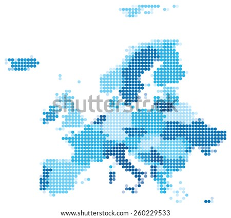 Shutterstock Vector illustration of blue dotted map of Europe.