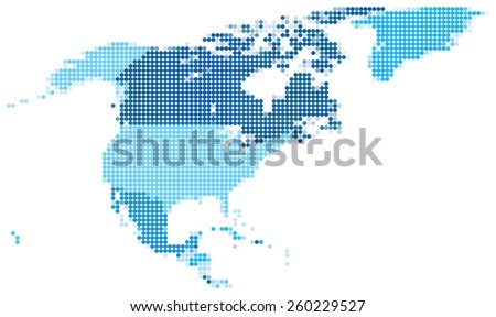 Vector illustration of blue dotted map of North America.