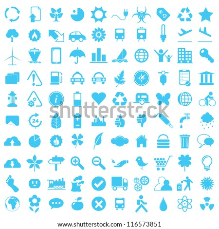 Vector illustration of blue eco and technology icons.