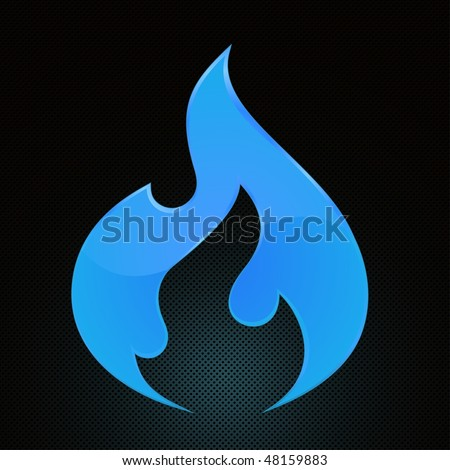 Vector Illustration of blue fire (natural gas) on abstract grid background