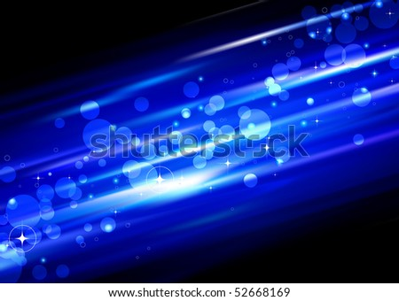 Vector illustration of blue futuristic abstract glowing background with blurred neon light dots