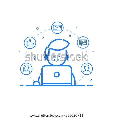 Vector illustration of blue icon in flat line style. Linear cute and happy man with laptop. Graphic design concept of social networking in Web Project and Applications Outline isolated object.