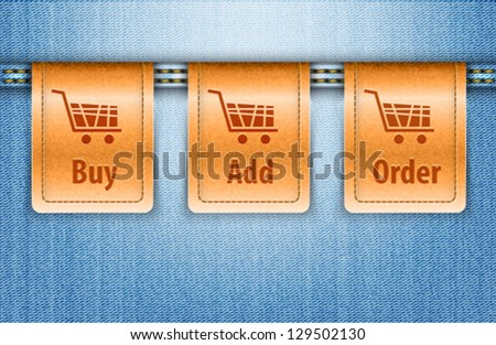 Vector illustration of blue jeans background with brown shopping labels