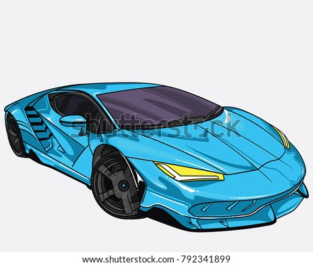 Stock Photo vector illustration of blue Lamborghini  car  separate on white background. Editable vector file.