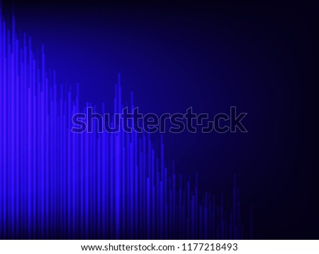 Vector illustration of blue light geometric shape on black background, concept of abstract tecnology. #1177218493
