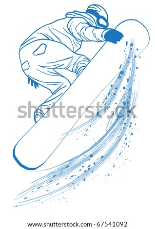 Vector illustration of blue outline of   athlete touching her snowboard - stock vector