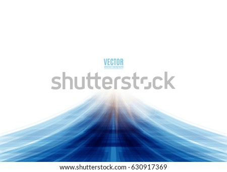 Vector illustration of blue road abstract background with blur light at the end