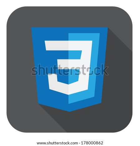 vector illustration of blue shield with css three number on the screen, isolated web site development icon on white background