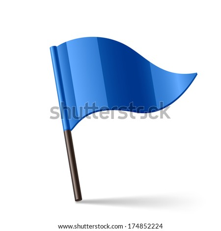Vector illustration of blue triangular flag