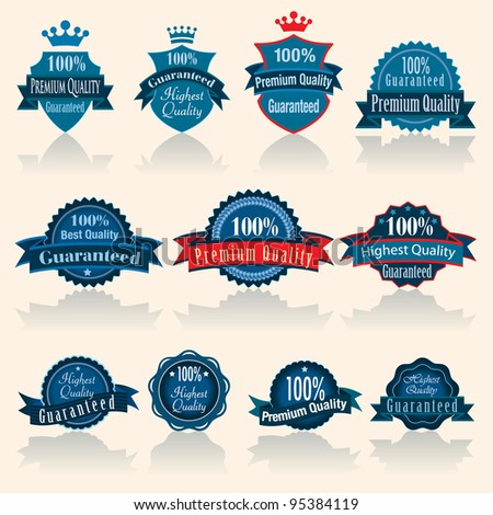 Vector illustration of blue vintage labels.