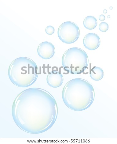 Stock Photo Vector illustration of blue water bubbles