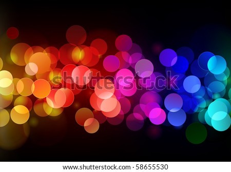 Vector illustration of blurred neon disco light dots pattern on dark background