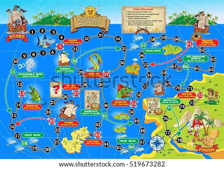 Stock Photo Vector illustration of board game for children. Treasure hunters. Spend a pirate ship on the ocean route and get the treasure chest.
