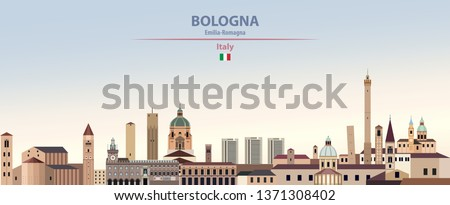 Vector illustration of Bologna city skyline on colorful gradient beautiful day sky background with flag of Italy
