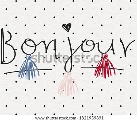 Vector Illustration of bonjour wordings Photo stock ©