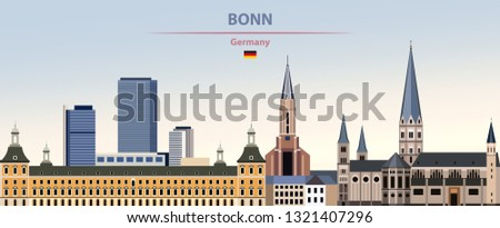 Vector illustration of Bonn city skyline on colorful gradient beautiful day sky background with flag of Germany