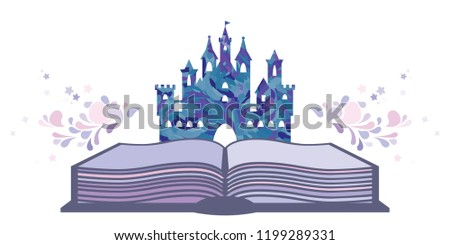 vector illustration of book and castle with pastel swirls for fairytales visuals in blue and pink colors