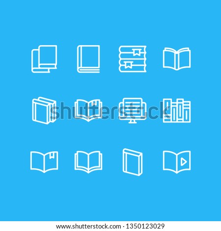 Vector illustration of 12 book icons line style. Editable set of education, article, copybook and other icon elements.