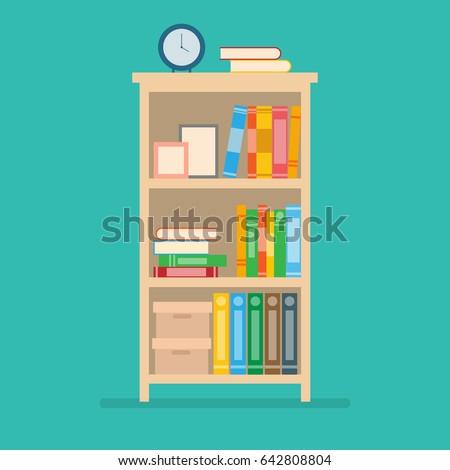 vector illustration of books on bookshelf.home interior design