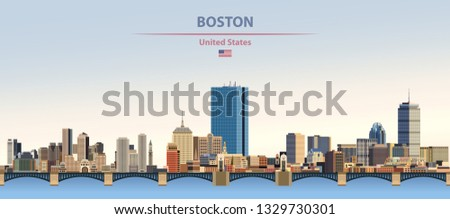 Vector illustration of Boston city skyline on colorful gradient beautiful day sky background with flag of United States