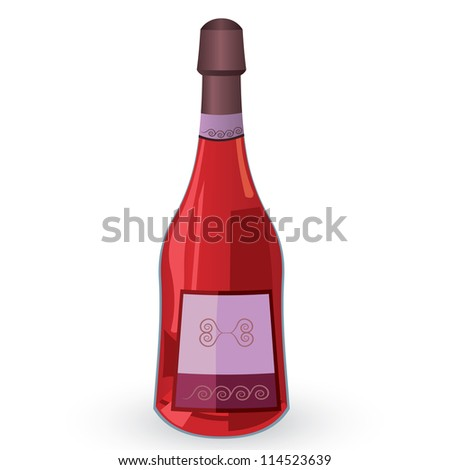Vector illustration of bottle with pink wine isolated on white background