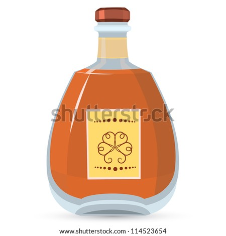 Vector illustration of bottle with whiskey isolated on white background