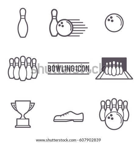 Vector Illustration of Bowling Icons