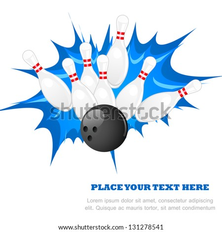 vector illustration of bowling pin with ball against abstract background