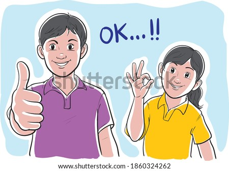 vector illustration of boy and girl siblings giving thumbs up and OK sign, line art, simple, cartoon Stock photo ©
