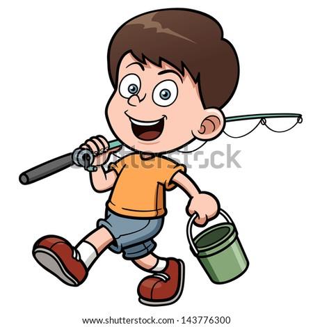 Vector illustration of Boy fishing