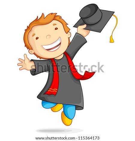 vector illustration of boy in graduation gown and mortar board