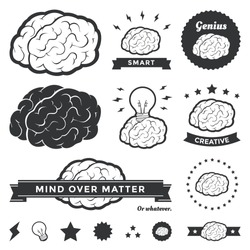 Vector illustration of brain designs & badges. These are iconic representations of creativity, ideas, inspiration, intelligence, thoughts, strategy, memory, innovation, education, & learning. Eps10.