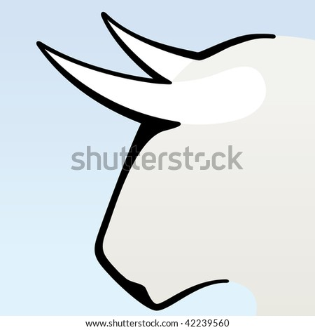 Vector illustration of brave bull head. Only global colors. CMYK. Easy color changes. - stock vector