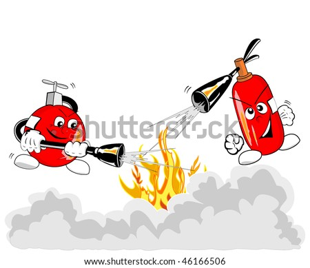 Vector illustration of brave extinguishers in action