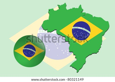 Vector illustration of Brazil flag on map and in glossy ball
